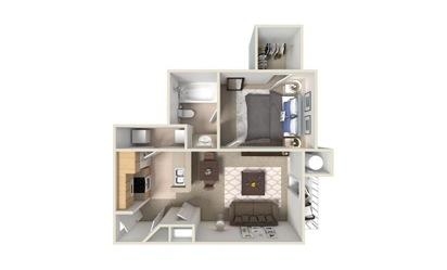A2 1 Bed 1 Bath Floorplan