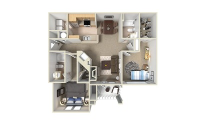B1 2 Bed 2 Bath Floorplan