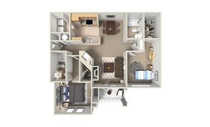 B2 2 Bed 2 Bath Floorplan