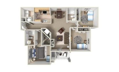 C1 3 Bed 2 Bath Floorplan